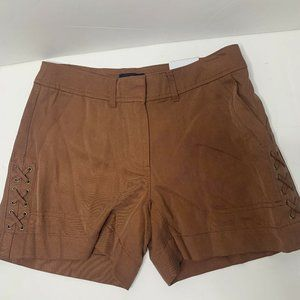 White House Black Market Twill Lace Up Short Pecan